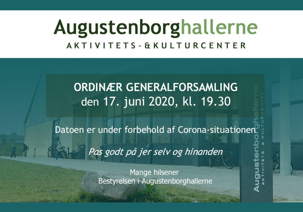 Augustenborghallerne: Generalforsamling i foreningen Augustenborghallerne